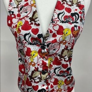 1994 Looney Tunes Valentines Red Hearts Vest  NWT